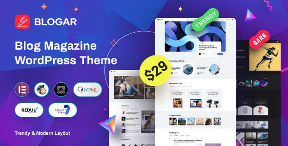 [GET] Nulled Blogar v1.0.2 - Blog Magazine WordPress Theme